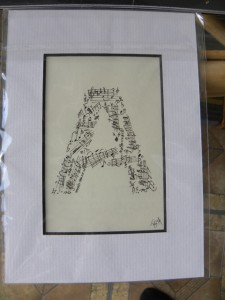 music letter A 5x7