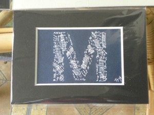 music letter M 5x7