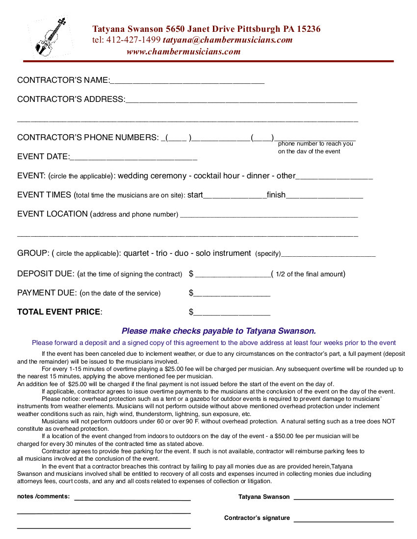 wedding photography contract format